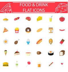 food and drink flat icon set vector image