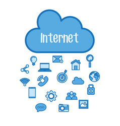 internet cloud computing media online digital vector image