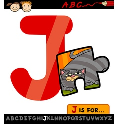 letter j with jigsaw cartoon vector image vector image