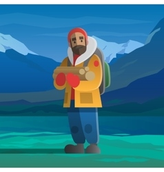 Man with logs in the winter mountains vector image