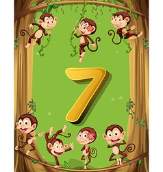 Number seven with 7 monkeys on the tree vector image vector image