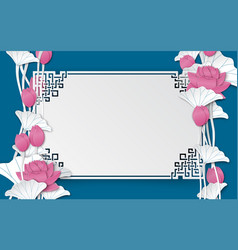 Oriental pattern frame with pink lotus flowers vector