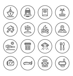 outline travel icon set vector image