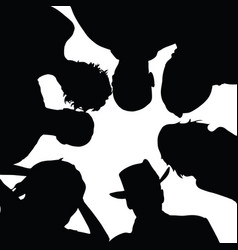 People senior silhouette with hat in black color vector
