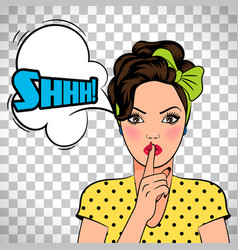 pop art woman asking for silence vector image vector image
