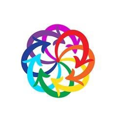 Rainbow colors arrows circle diagram vector