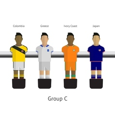 Table football soccer players group c - colombia vector