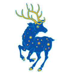 Unusual space deer with shining stars vector