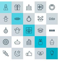 Year icons set collection of doughnut balloon vector