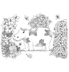 Zen Tangle hippopotamus in a vector image vector image