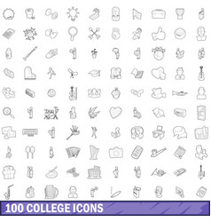 100 college icons set outline style vector image vector image