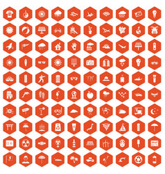 100 sun icons hexagon orange vector