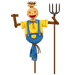 Scarecrow in farmer outfit holding fork vector