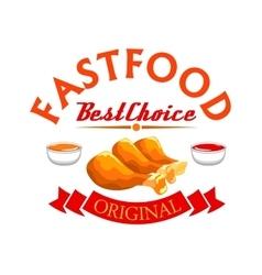 Fast food label crispy fried chicken legs vector