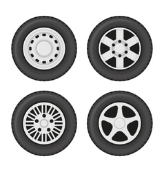 Car Wheels Icons Set on White Background vector image