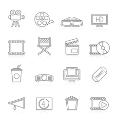 Line movie and cinema icons vector