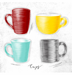 set cups vector image