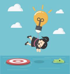 Business woman with a light bulb parachute is vector