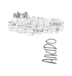 Aikido history text word cloud concept vector