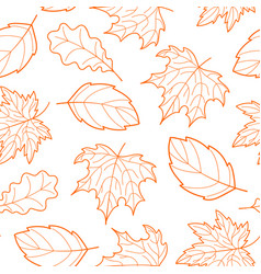 Leaves seamless outline orange vector