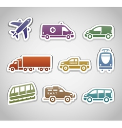 Flat retro color stickers - set seven vector