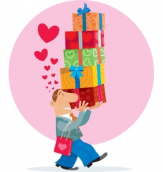 Gift box and love vector
