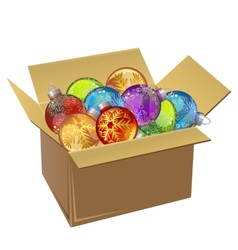 Cardboard box full of christmas balls isolated vector