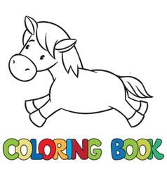 Little horse or pony coloring book vector