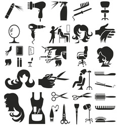 hairdresser icons on white vector image