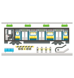 Flat design subway train interior vector