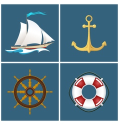 Sailboat and ship equipment vector