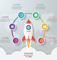 Startup circle infographics with rocket 6 options vector