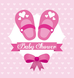 baby shower card girl shoe bow celebration vector image