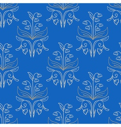 Blue floral seamless pattern vector image