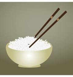 Boiled rice in bowl with chopsticks eps10 vector