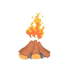 campfire logs burning cartoon vector image vector image