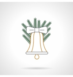 Color flat line Xmas bell icon vector image