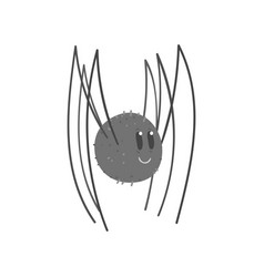 cute cartoon black spider character vector image