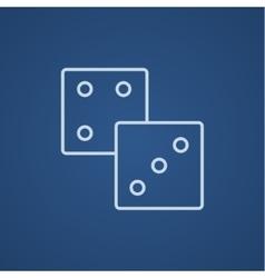 Dices line icon vector