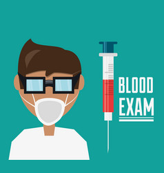Doctor with glasses and mask with syringe to blood vector