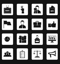 Election voting icons set squares vector