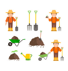Farmer and gardener with tools vector