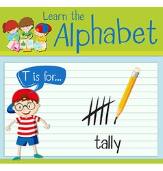 Flashcard letter t is for tally vector
