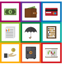 flat icon incoming set of payment greenback hand vector image vector image