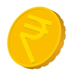 Gold coin with Rupee sign icon cartoon style vector image