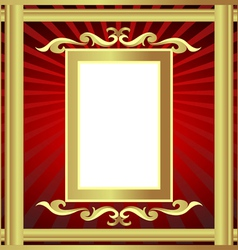 golden frame with pattern and ray vector image vector image