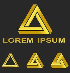 Golden penrose triangle technology symbol set vector