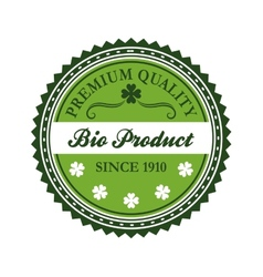 Green bio product label design vector