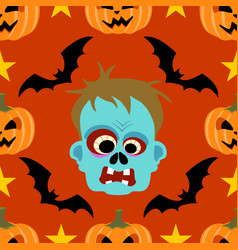 halloween background seamless with zombie vector image vector image