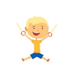 happy boy hanging on gymnastic rings kids vector image